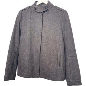Vince Wool Twill Back Pleat Jacket Gray 8